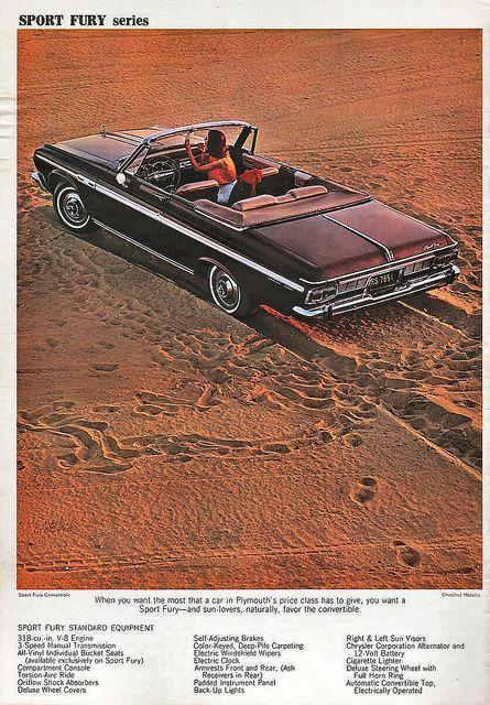 1964 Plymouth Sport Fury Convertible Plymouth Retro Cars Car Advertising