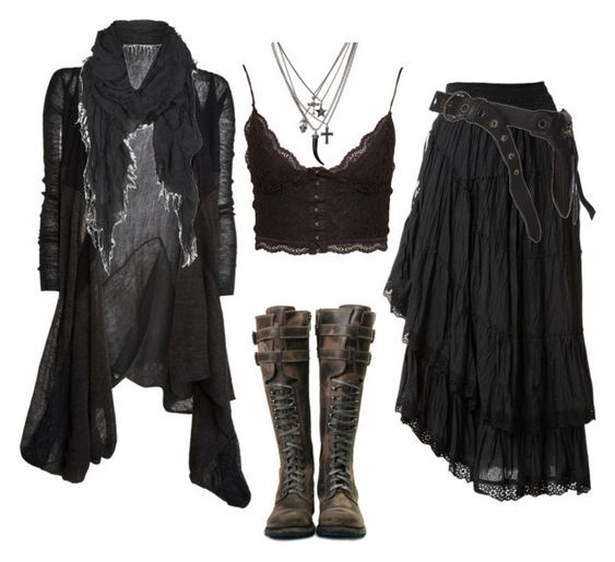 Swamp Witch by n-nyx on Polyvore featuring Edun, NLY Trend, Raxevsky, AllSaints, witch, wicca, postapocalyptic and strega: