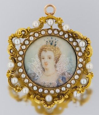 Pearl and Miniature Portrait Brooch: