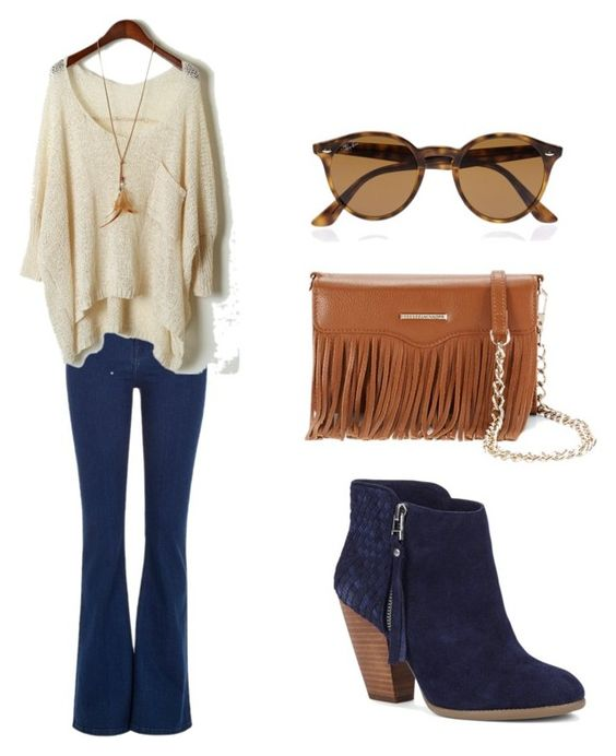 """Fall Blues"" by taylorstufflebeam on Polyvore featuring River Island, Sole Society, Rebecca Minkoff, Ray-Ban, denim, booties, suede and fringebag"