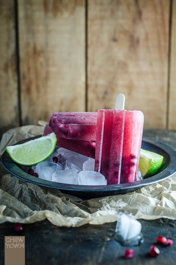 Pomegranate and Lime Ice Pops