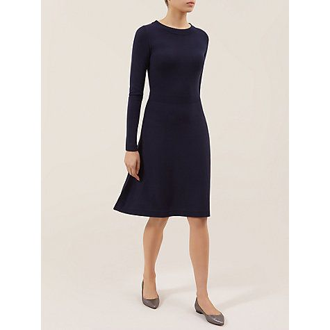 Navy Etta Wool Dress - Hobbs