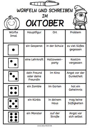 Wurfeln Und Schreiben Im Oktober Afs Methode Arbeitsblatt Daf