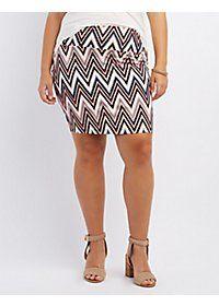 Plus Size Chevron Print Pencil Skirt