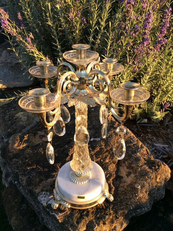 Vintage Gold Ornate, Five Arm Candelabra, with Crystals & Marble Base, made in Italy,  Hollywood Regency, Shabby Chic, Wedding Decor, Glam by YellowHouseDecor on Etsy https://www.etsy.com/listing/253965634/vintage-gold-ornate-five-arm-candelabra