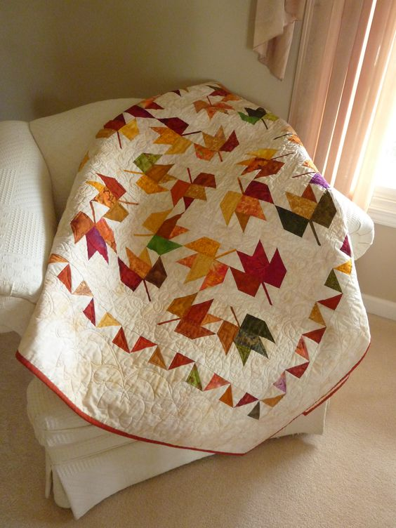 Judy's Maple Leaf quilt from The Creative Pattern Book by Judy Martin. Great use of batiks!