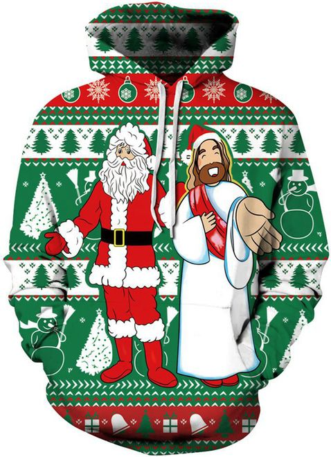 Women Christmas Santa Claus And God Hoodies Santa Claus Cultural Celebration Black Friday Christmas