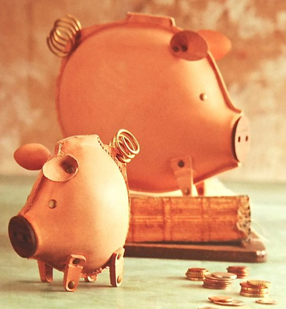 Great leather piggy banks new home pinterest for Handmade coin bank
