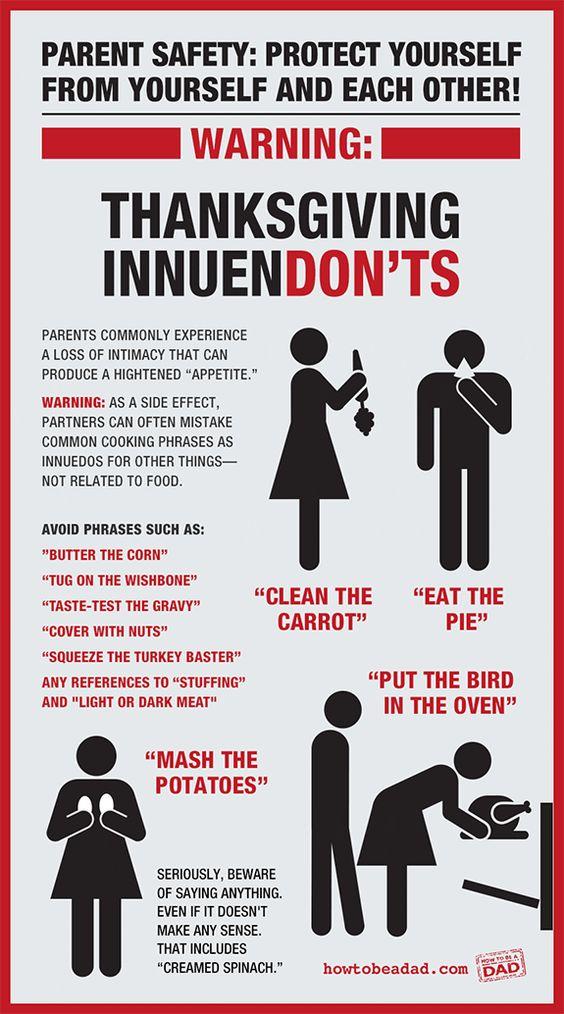 Funny Thanksgiving Innuendon'ts Warning Sign by HowToBeADad.com