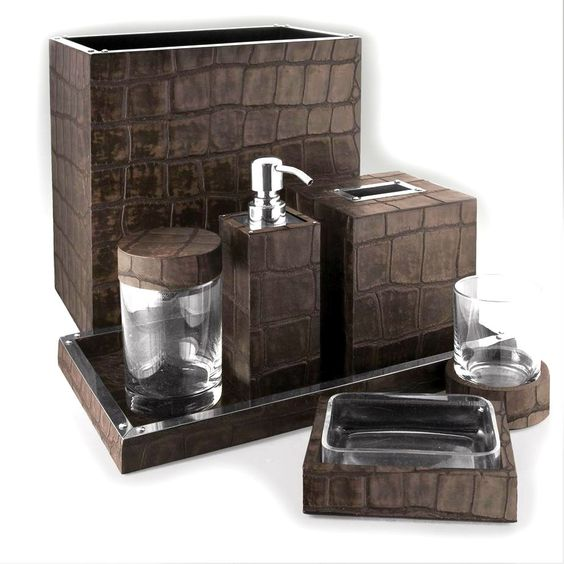 bathroom sets luxury designer chocolate crocodile leather bath set