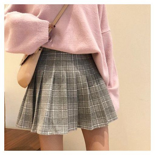 Woolen Plaid Pleated Skirt Pleated Skirt With Tights Woolen Plaid Pleated Skirt In 2020 Pleated Skirt Outfit Short Tennis Skirt Outfit Cute Skirt Outfits