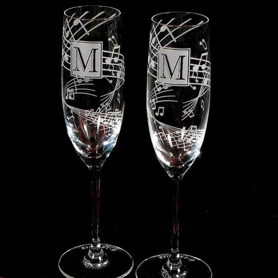 NEW Music Wedding Toasting Flutes Fine Crystal by bradgoodell, $74.00