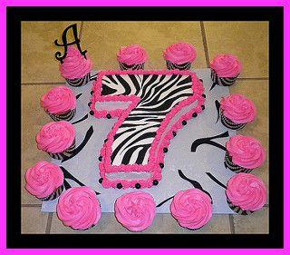 """7"" Pink Zebra Cake & Cupcakes | by tinkabellz17"