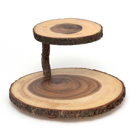 Lipper International 14in Acacia 2-Tier Tree Bark Server