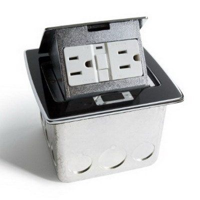 Lew Electric PUFP-CT-BK Countertop Box, Pop Up w/20A GFI Receptacle - Black