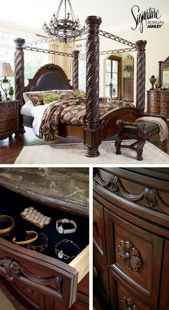 queen bedroom furniture - north shore poster bed - ashley