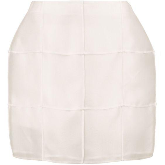 Fendi Silk-gazar mini skirt ($475) ❤ liked on Polyvore featuring skirts, mini skirts, ivory, ivory silk skirt, ivory skirt, silk skirt, winter white skirt and ivory mini skirt