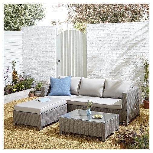 Tesco San Marino Rattan L Shaped Sofa Garden Lounge Set Grey Outdoor Sofa Sets Rattan Garden Furniture Outdoor Furniture Sets