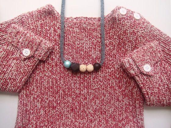 Colliers de perles en bois peintes à la main, lien en tissu recyclé pour femmes et enfants www.monpetitzoreol.fr