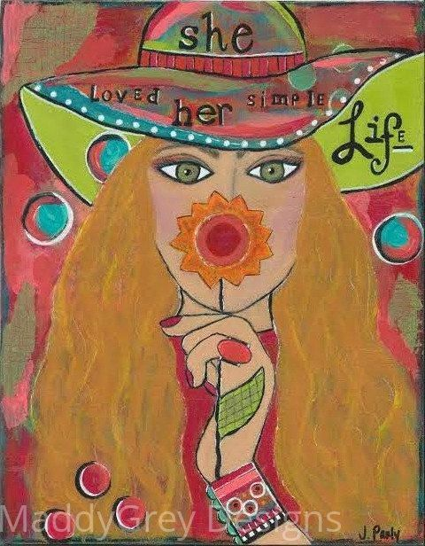 gypsy woman, gypsy art, simple life, live simply, enjoy the simple life, floral art, word art, she art, gift for her, boho decor, indie art - pinned by pin4etsy.com