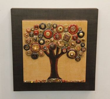 A Tree in Golds - 16x16 inches