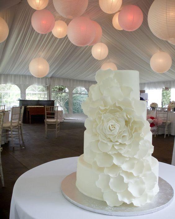 Beautiful All White Petal Flower Cake