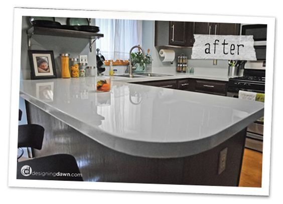 PAINTED COUNTERTOPS...I HAVE SEEN THIS IN OTHER ARTICLES...I WOULD BE SO NERVOUS TO SEE HOW IT STANDS UP TO REAL LIFE USE.  BUT....IF YOUR THINKING OF REPLACING THEM ANYWAYS..GIVE THIS A TRY FIRST.  GIVES ME LOTS OF IDEAS ON FAUX LOOKS ETC..
