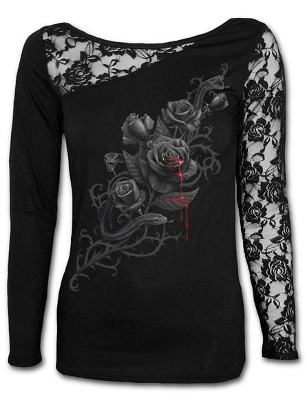 "Buy the Women's ""Fatal Attraction"" Lace One Shoulder Top by Spiral USA (Black) at InkedShop.com. We offer coupon codes, deals, and discounts everyday!"