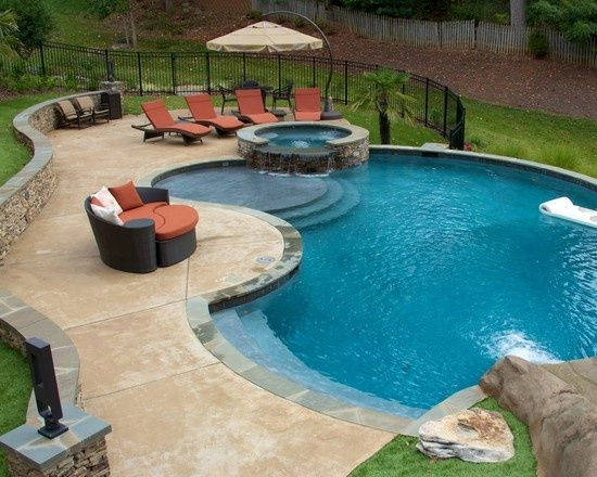 Traditional Freeform Pool Design Design Pictures Remodel Decor And Ideas Backyard Pool Landscaping Pool Remodel Pools Backyard Inground
