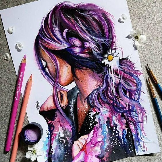 Cuadro Colorido Pintado A Mano En 2020 Dibujos De Peinados