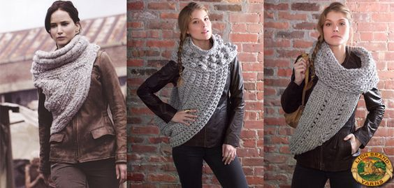 District 12 Cowl Wrap - inspired by the cowl seen in Catching Fire (free patterns in knit & crochet) by Lion Brand Yarn