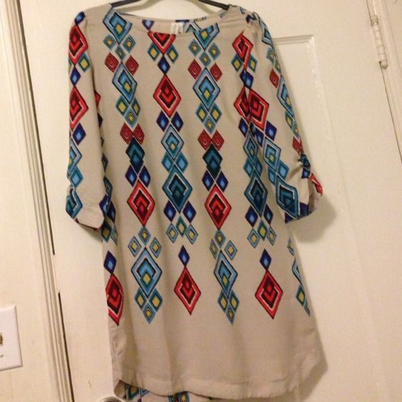 Pink Owl Tribal Triangle Shift Dress Three quarter sleeve, taupe shift dress with fun colors. Size M pink owl Dresses