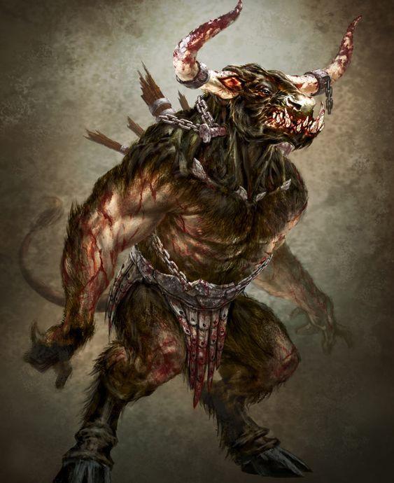 Minotaur (Humanoid)(Large) – Half bull and half humanoid ...