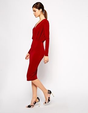 Enlarge ASOS Plunge Dress In Crepe With Folded Bodice