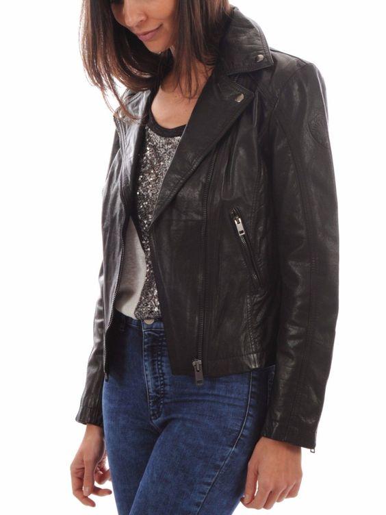 Womens Genuine Lambskin Leather Jacket Soft Slim Fit Motorcycle Jacket Wj083