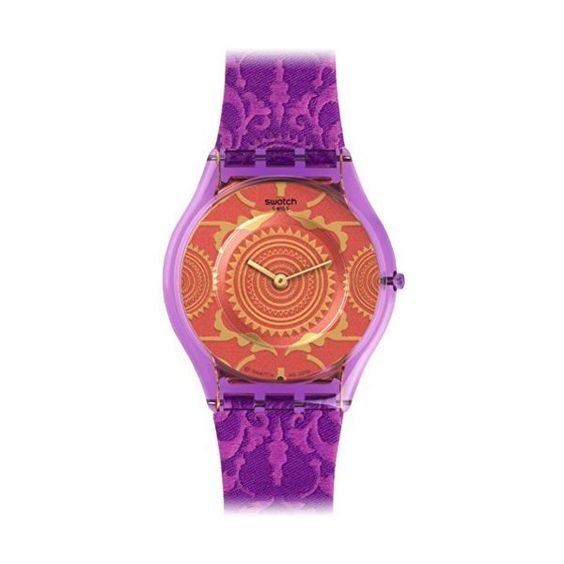 Swatch Shantaram Orange Pattened Dial Purple Fabric Unisex Watch (€69) ❤ liked on Polyvore featuring jewelry, watches, orange watches, plastic crowns, orange dial watches, purple jewelry and orange jewelry