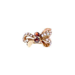 Vintage Garnet & Seed Pearl* Bow Ring