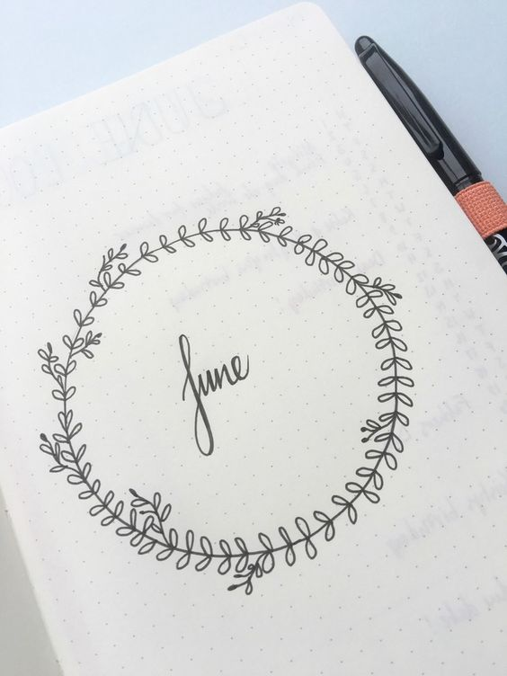 bullet journal first page: