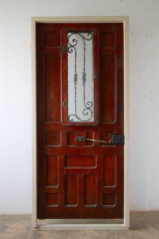 ダークシャビーな鋲打 アイアン飾り 玄関ドア 木枠完成品付 フランス アンティークドア 直輸入販売 Boncote アンティーク ドア 玄関ドア 木枠