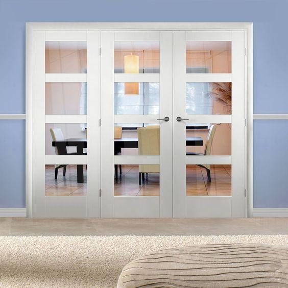 Easi-Frame White Door Set, GWPSHA4L-COEOP17L, 2005mm Height, 2270mm Wide. #whitedoorwithscreen #internalwhitedoorglazed #doubledoors