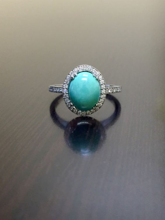 http://rubies.work/0387-sapphire-ring/ Turquoise Engagement Ring  18K White Gold Halo by DeKaraDesigns