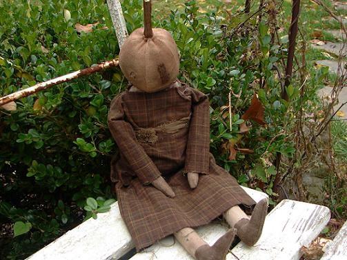 Folk Art Pumpkin Head Doll Rabbit Hill Primitives 246