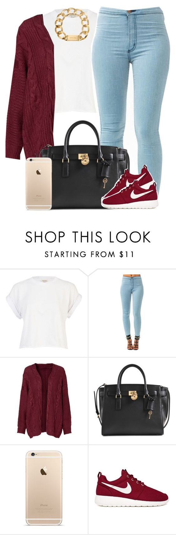 """""""Somebody."""" by livelifefreelyy ❤ liked on Polyvore featuring River Island, Michael Kors, NIKE, women's clothing, women, female, woman, misses and juniors"""