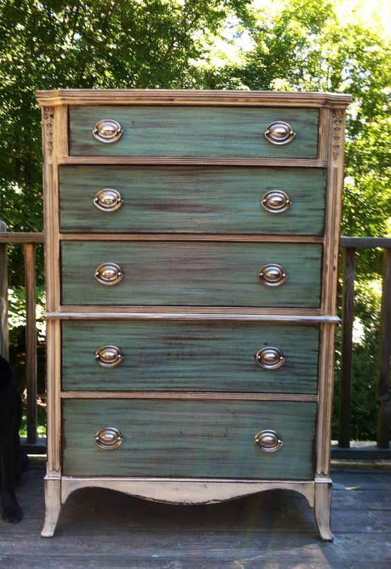Love Tall Two Toned Dresser By Thesandshop On Etsy Upcycled Repurposed Furniture