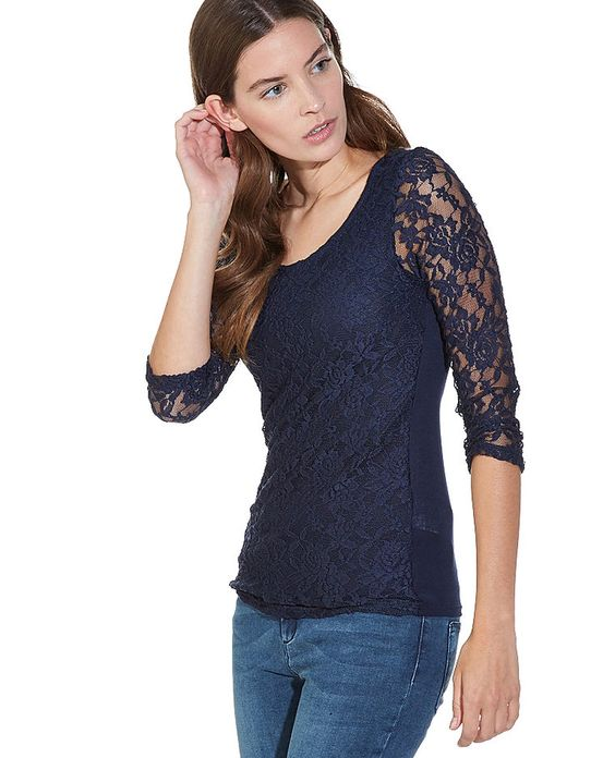 T-shirt dentelle bleu marine