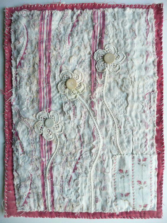 Distressed Antique Quilt Fragment Hand by EllenDevallArtwork