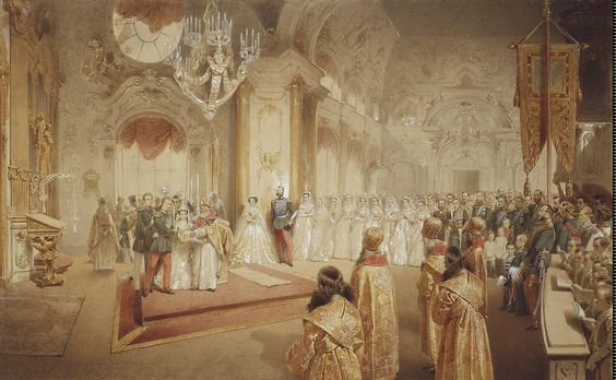 Wedding of Marie Feodorovna (née Dagmar of Denmark) & Tsarevich Alexander Alexandrovich in the chapel of the Winter Palace, 1866