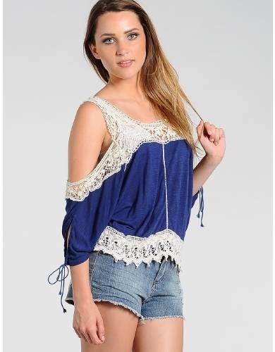 Peek A Bit Crochet Boho Top Blue