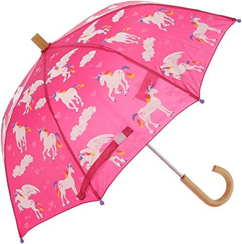 Hatley Little Girls Printed Umbrellas Rainbow Unicorns 28 Inch 23 Inch Kid Safe Design Wooden Handle Complete Th Print Umbrella Umbrella Kids Umbrellas