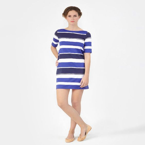 Summer stripes...Women'S Boat-Neck Dress With Bayadere Stripes   Petit Bateau US Official Online Store